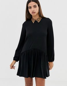Read more about Asos design mini smock dress with leopard collar