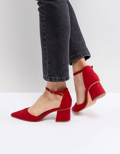 Read more about Bershka block heel pointed shoe - red