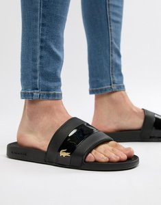 Read more about Lacoste fraisier gold croc sliders in black - black