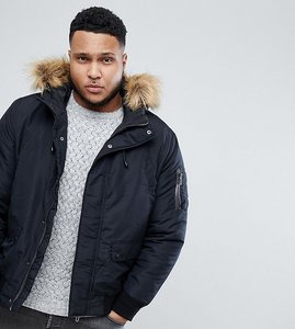 Read more about Only sons plus padded jacket with removable faux fur hood - black