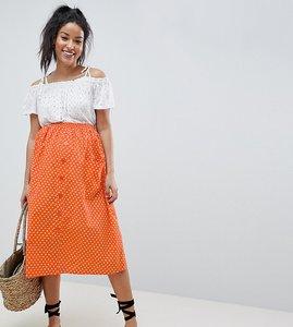 Read more about Asos design maternity cotton midi skirt with button front in orange spot - orange white