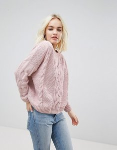 Read more about New look chenille knitted crop jumper - nude
