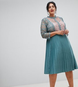 Read more about Little mistress plus lace sleeve pleated midi dress in aqua