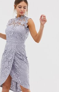 Read more about Paper dolls lace wrap midi pencil dress in oyster grey