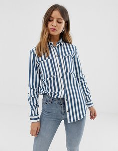 Read more about Noisy may oversized denim stripe shirt