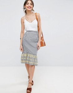Read more about Asos gingham midi skirt with embroidered hem - back white