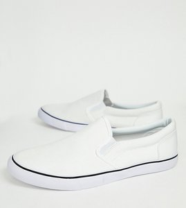 Read more about Asos wide fit slip on plimsolls in white canvas - white
