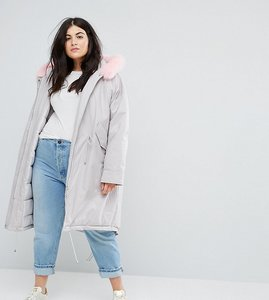 Read more about Asos curve oversized parka with pink faux fur hood - grey