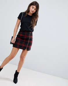 Read more about Asos design red check mini skirt with asymmetric zip - multi