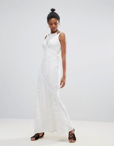 Read more about French connection rene lace print maxi dress - summer white