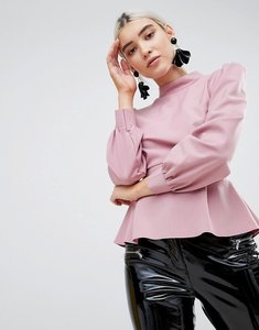 Read more about Prettylittlething open back high neck blouse - dusty pink