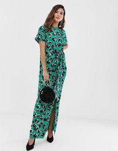 Read more about Liquorish thigh split maxi dress in green leopard
