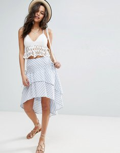 Read more about Asos stripe midi skirt with channel detail - stripe blue white