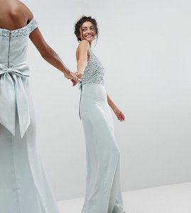 Read more about Maya tall sleeveless sequin bodice maxi dress with cutout and bow back detail - ice blue