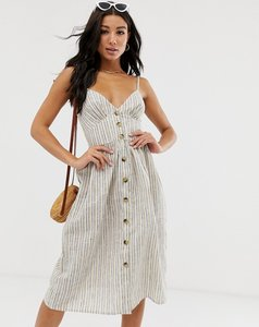 Read more about Influence button down cami strap sun dress in stripe