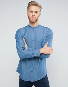 Read more about Selected homme slim grandad shirt - light blue