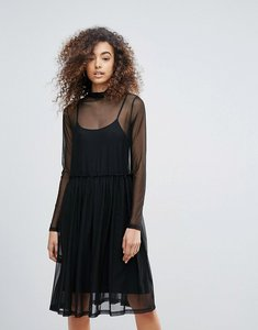 Read more about Gestuz mesha overlay high neck dress - black
