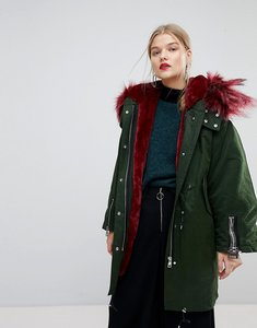 Read more about Mango faux fur contrast parka jacket - dark green