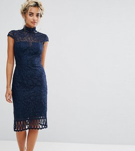 Read more about Chi chi london petite cap sleeve lace pencil dress in cutwork lace and high neck - navy