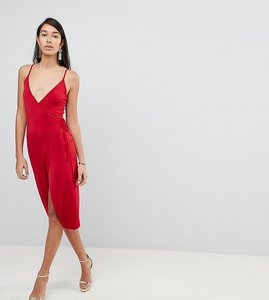 Read more about Asos tall sexy wrap midi bodycon dress - red