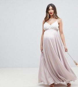 Read more about Asos design maternity satin maxi skirt with centre front split - silver
