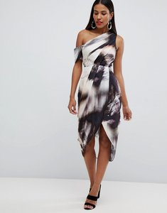 Read more about Asos design one shoulder hammered satin dress in abstract print - nude abstract
