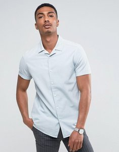 Read more about Asos regular fit laundered shirt with revere collar in pale blue - pale blue