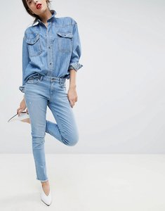 Read more about Esprit cropped distressed stretch jeans - blue