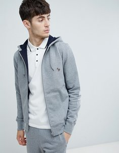 Read more about Ps paul smith zebra logo zip through hoodie in grey - grey