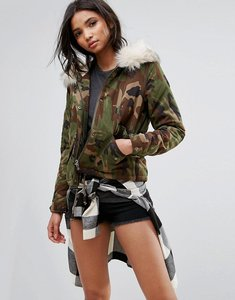 Read more about Only camo parka with borg lining - camo