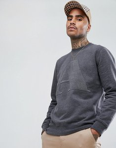 Read more about Aquascutum brett flock emroidered large logo crew neck sweat in charcoal - charcoal