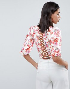 Read more about Asos design occasion top with lattice back in floral print - floral