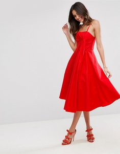 Read more about Asos premium extreme fold midi prom dress - hot red