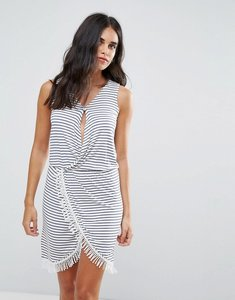 Read more about Blend she simone striped wrap dress - blue indigo