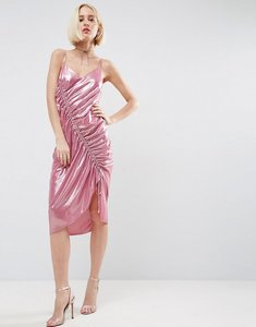 Read more about Asos ruched slip dress in metallic fabric - pink