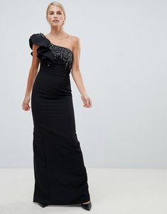 Read more about Forever unique one shoulder maxi dress with embellished detail - black