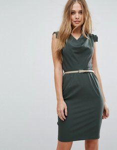 Read more about Closet london cowl front pencil dress with belt - khaki