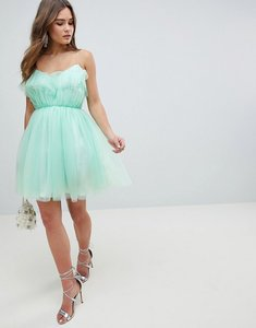 Read more about Asos design mini dobby tulle prom dress with ruffle bodice - mint