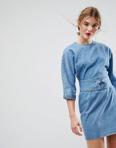 Read more about Asos denim dress with belt and ring detail in midwash blue - blue