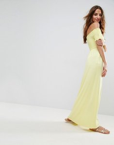 Read more about Asos off shoulder maxi sundress with shirring - lemon yellow