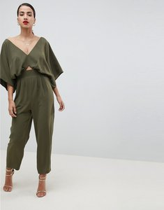 Read more about Asos design jumpsuit with kimono sleeve and peg leg - olive