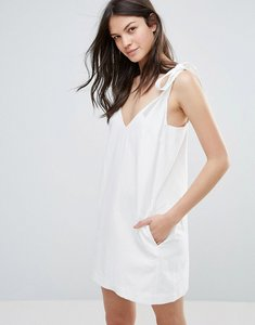 Read more about French connection imogen cotton tie strap dress - summer white
