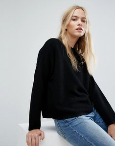 Read more about Weekday rib boxy knit jumper - black