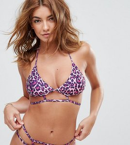 Read more about Missguided leopard print caged bikini top - multi