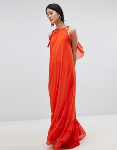 Read more about Y a s halter maxi dress with tiered hem - orange