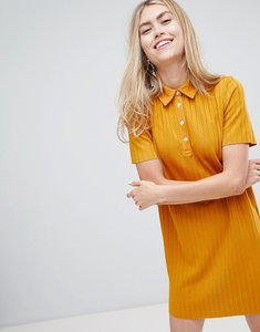 Read more about Bershka ribbed collared dress in mustard - yellow