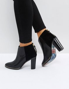 Read more about Ted baker azaila black leather heeled ankle boots - black