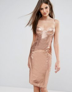Read more about Rare london high neck plunge midi dress in high shine - rose gold
