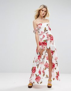 Read more about Parisian off shoulder floral maxi dress with shorts - white pink