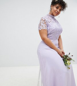 Read more about Chi chi london plus 2 in 1 high neck maxi dress with crochet lace - lavender grey